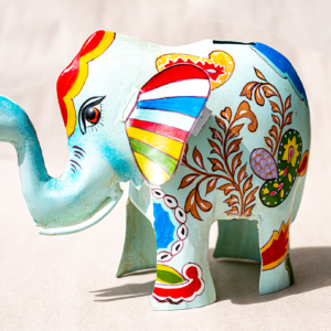 Dekorative Metall Spardose XL Elefant bemalt
