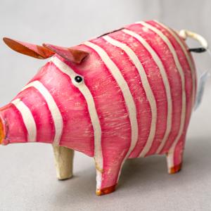 Dekoratives Metall-Sparschwein mit Streifen